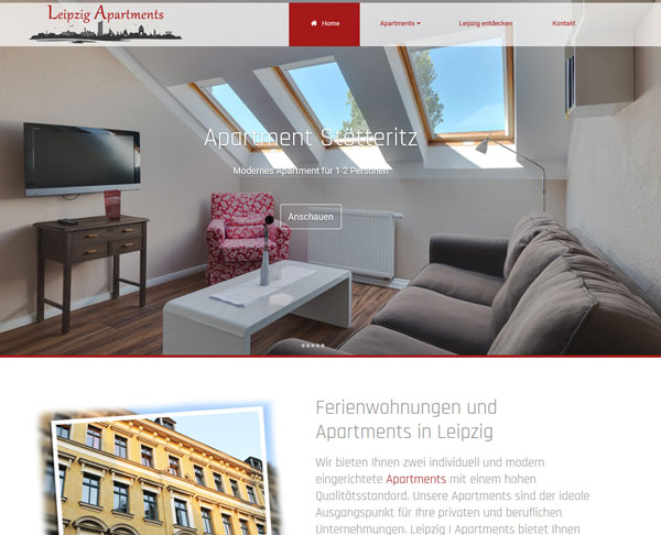 Website für Apartment in Leipzig